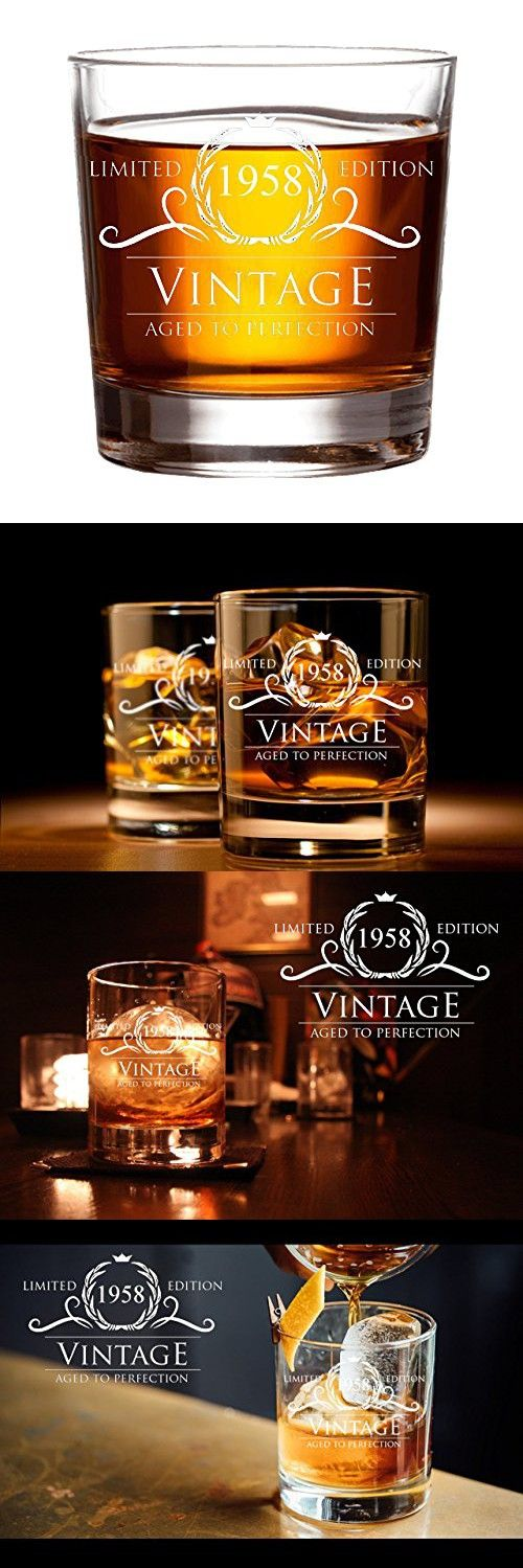 1958 60th Birthday Gifts For Women And Men Whiskey Glass