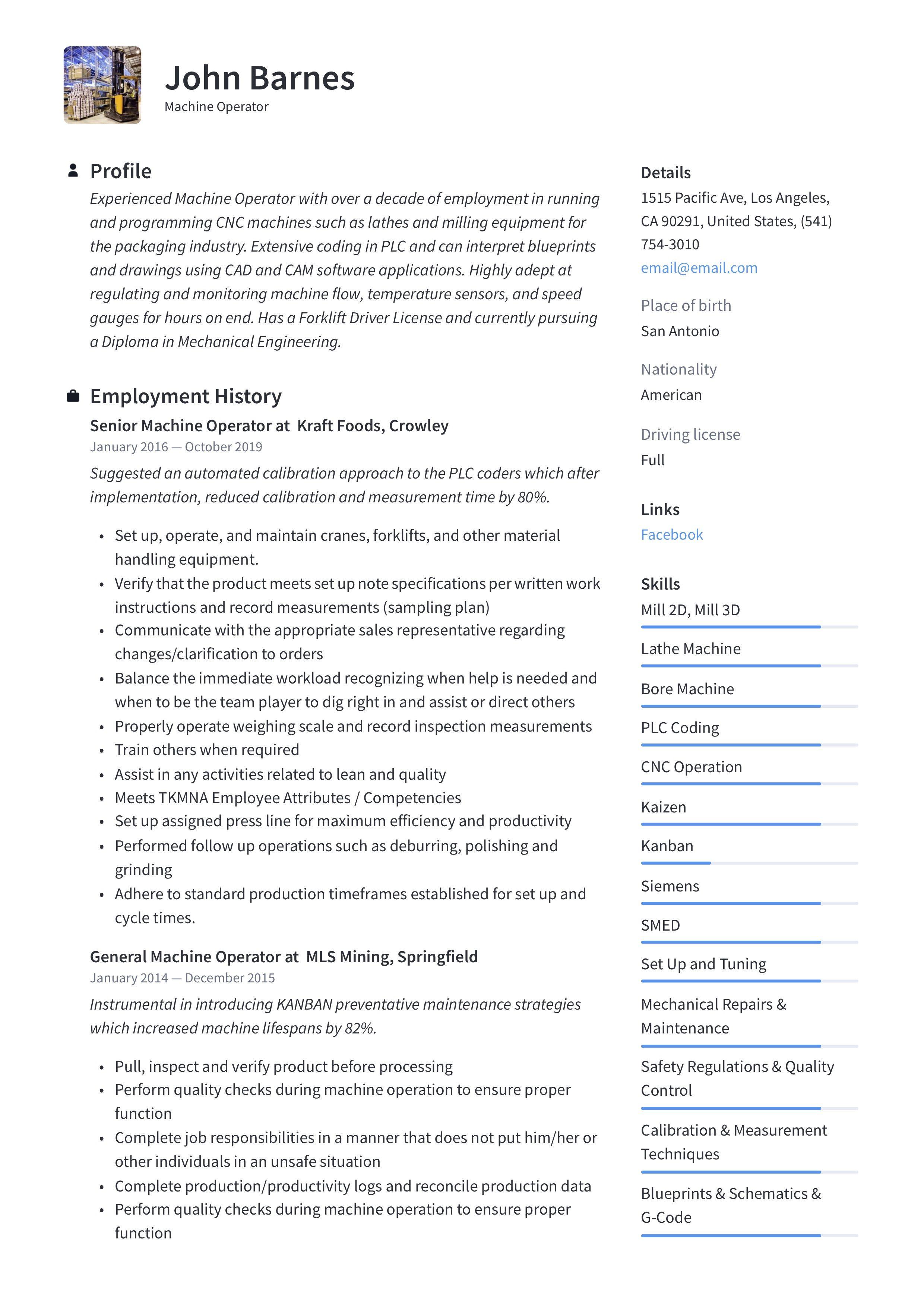 Machine Operator Resume Template Guided Writing Resume Guide Resume Template