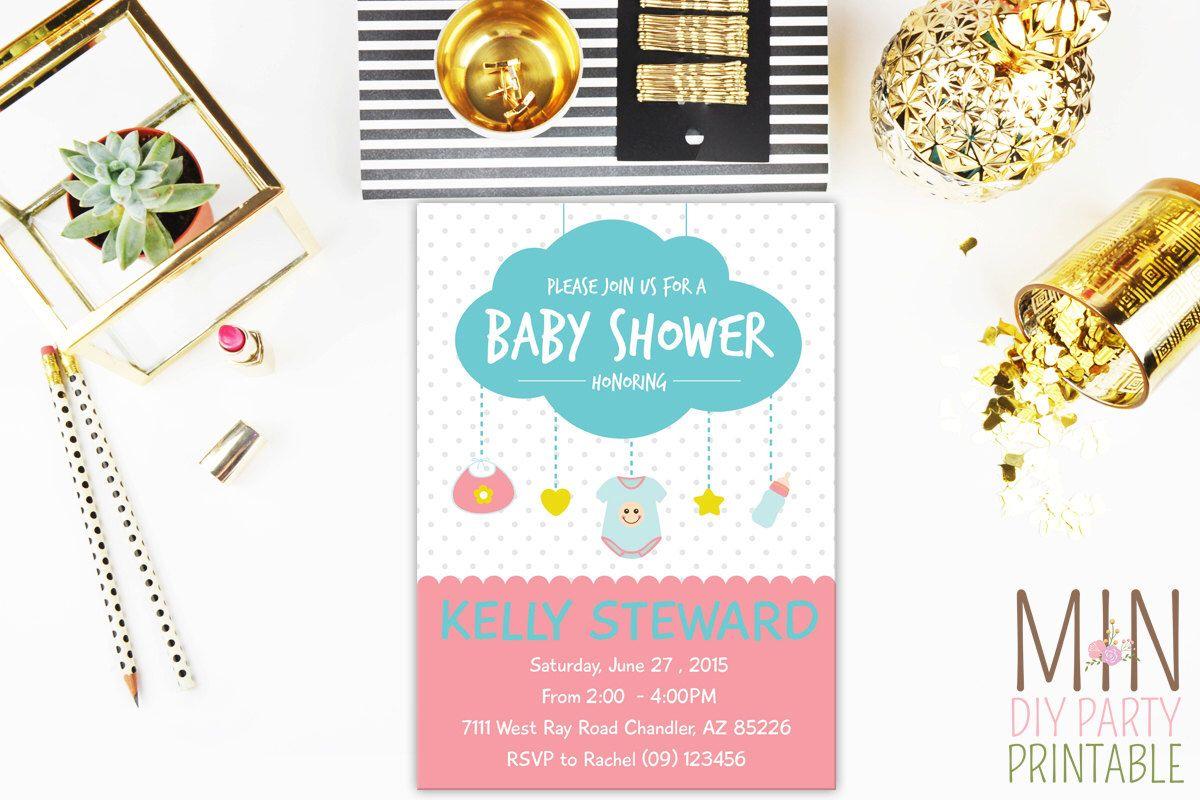 Rain Cloud Baby Shower Invitation, Cloud Baby Shower Invite, Pink ...