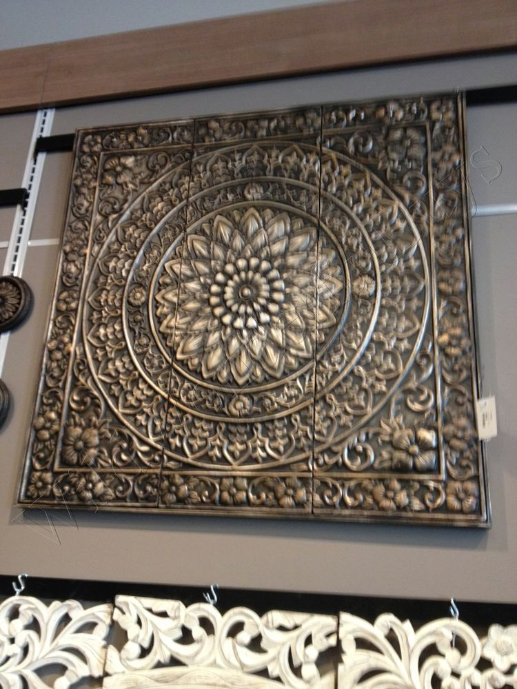 Embossed medallion metal wall sculpture brown black square tuscan decor art 0