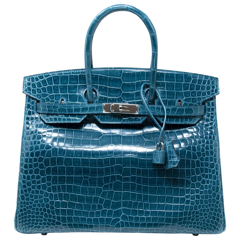 c1062720f1 Hermes Bleu Colvert Porosus Crocodile with Palladium Hardware Birkin ...