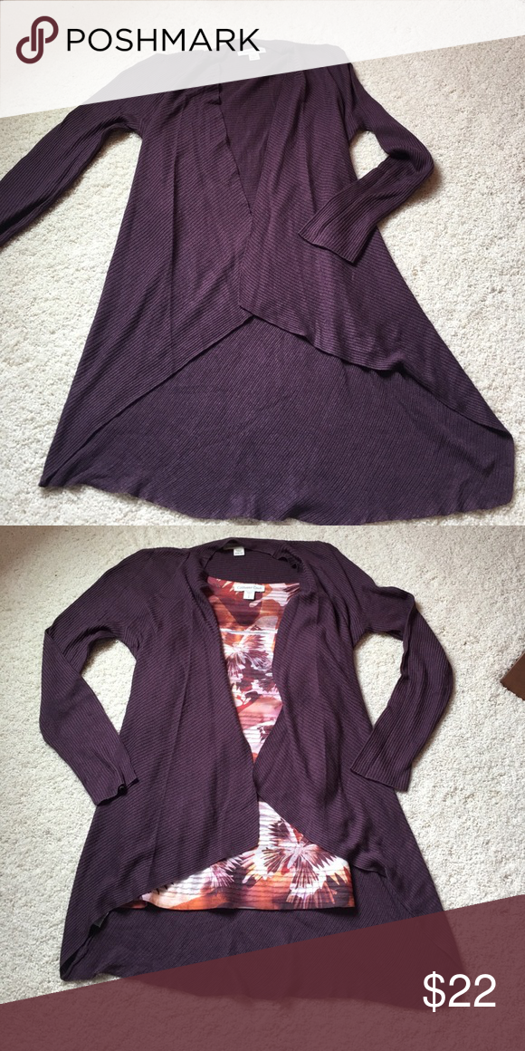 Coldwater Creek Asymmetrical cardigan, size M. Dark purple/burgundy Coldwater Creek Cardigan. Only worn once. No rips, tears, or stains. Goes perfect with Coldwater Creek tank top sold in separate listing. Smoke free home. Coldwater Creek Sweaters Cardigans