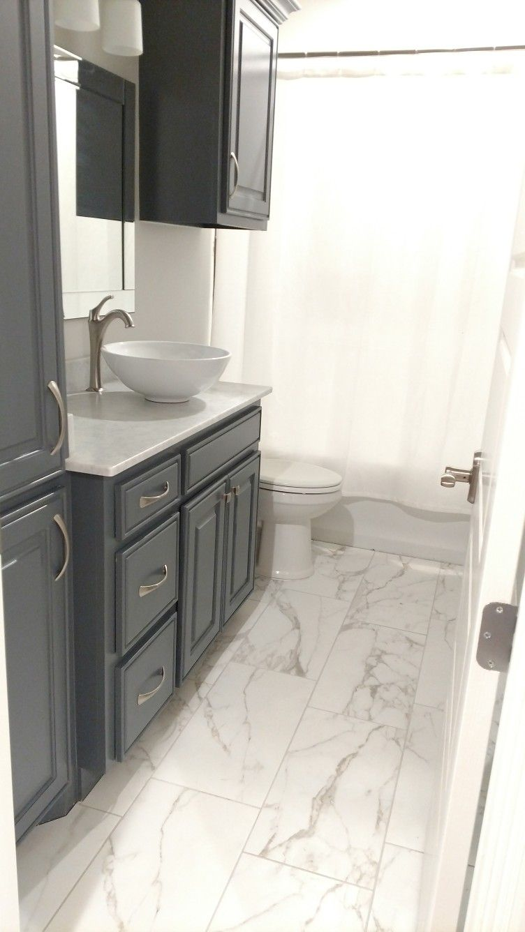 Guest bathroom Cabinets Web Gray by Sherwin Williams