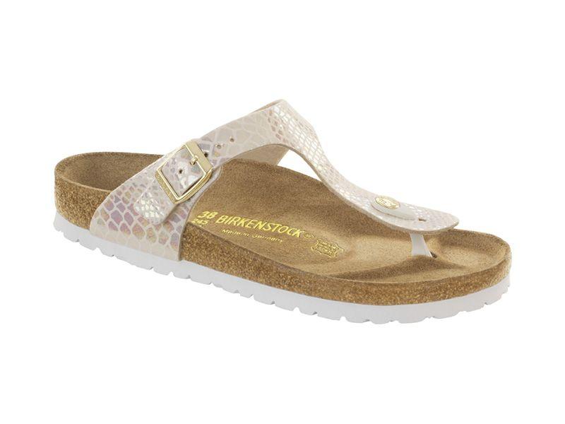 847431 Gizeh széles talp Lábujjközis papucsok Főoldal Leather buckle sandals Cream