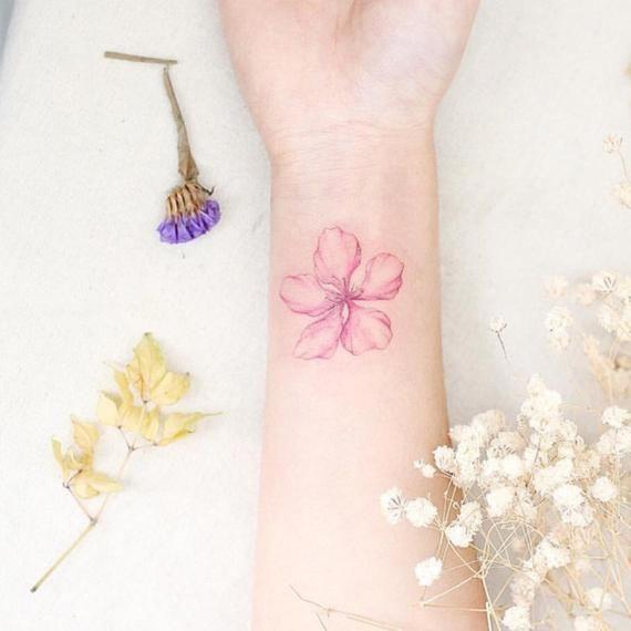 Set of 2 Pink Floral Flower temporary tattoo vintage Fake waterproof boho small wrist tattoo custom bachelorette  tattoos