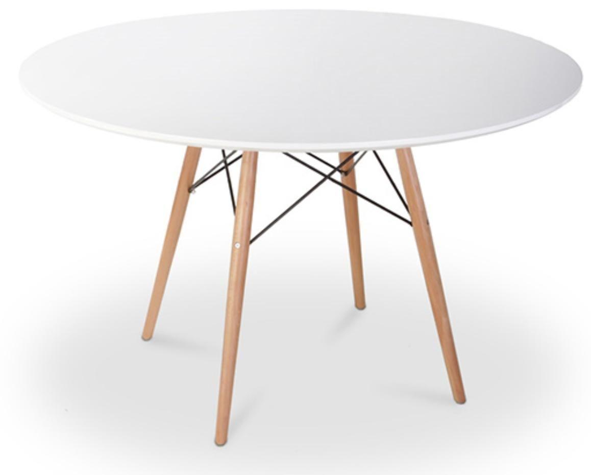 Table Blanche Pied Bois table à manger ronde blanche pieds bois clair chicca 120 cm