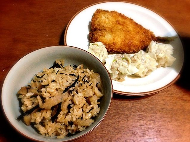 五島三菜はひじき、干し人参、切り干し大根のミックス。炊込みにしました!イカ焼売も美味しい! - 8件のもぐもぐ - 五島三菜の炊込みご飯、イカ焼売、アジフライ by Ayaya