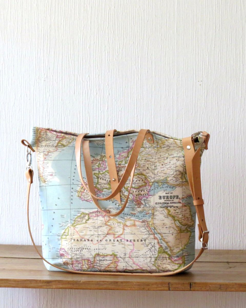 Last One In Stock Canvas Tote Bag World Map Tote Bag Travel Bag