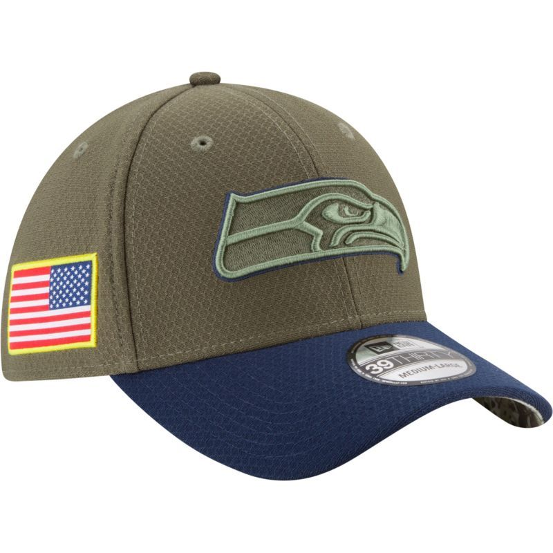 New Era Men s Seattle Seahawks Salute to Service 2017 39Thirty Stretch Fit  Hat 23c3c42a4
