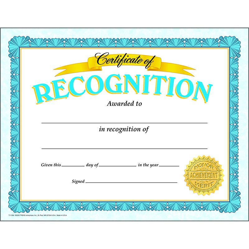 recognition certificates for students