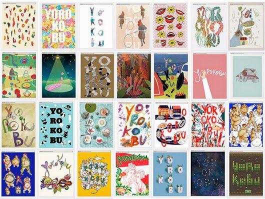 Serie de portadas de la revista Yorokobu: Diferentes en cada número según la temática de la revista e integrando el nombre en el diseño.