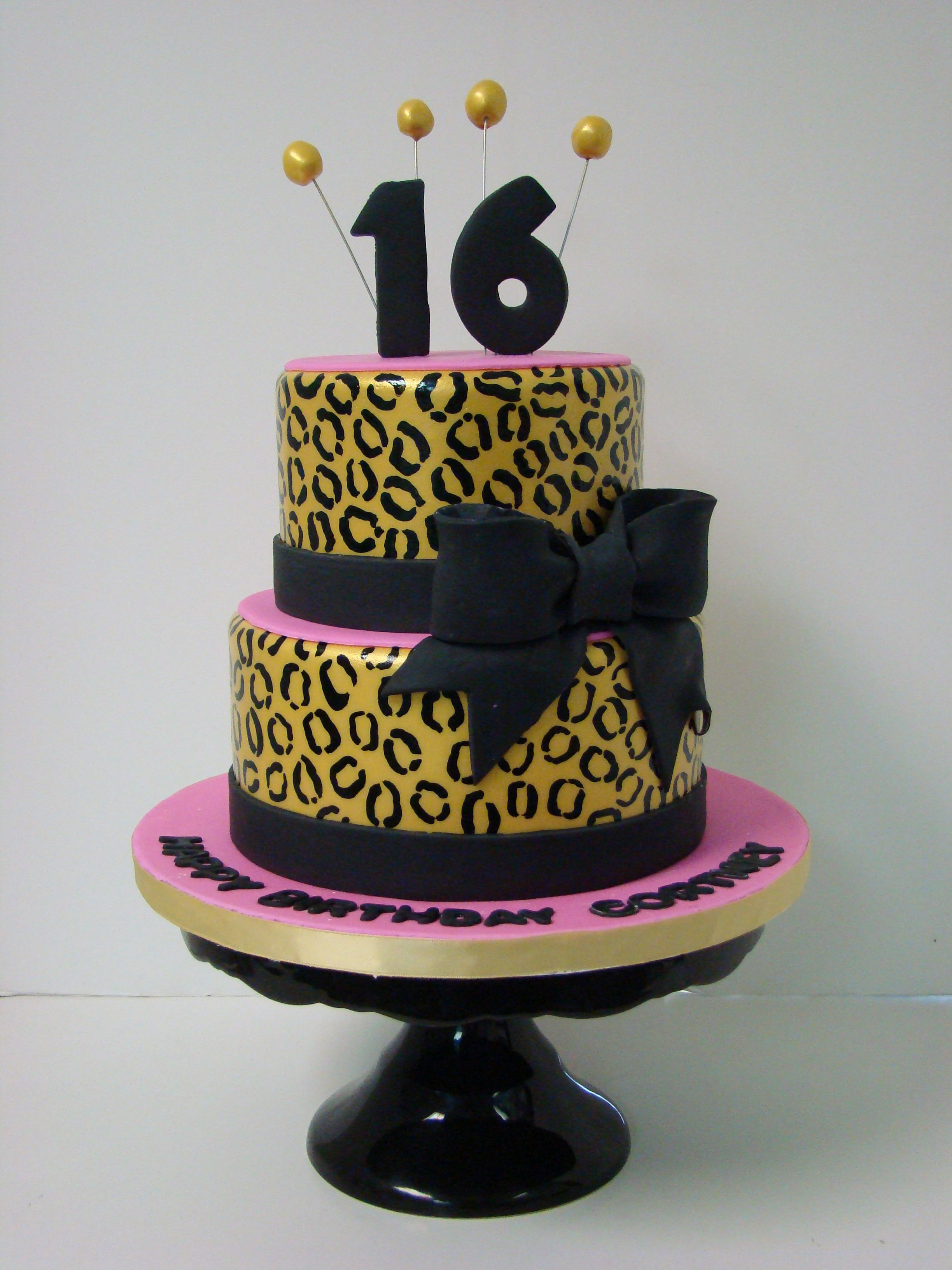 Sweet 16 Birthday Cake Black And Gold Lepard Print