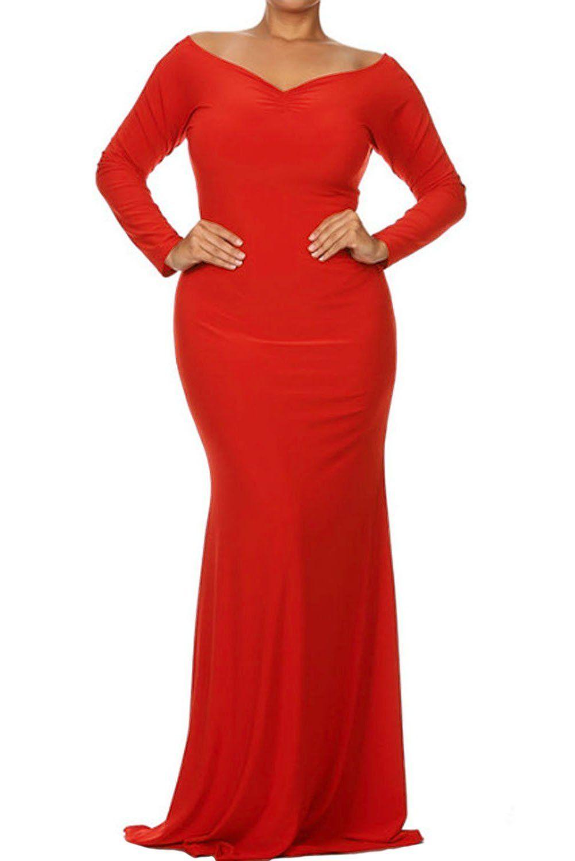 Red offshoulder v neck long sleeve plus long dress by victoryroze