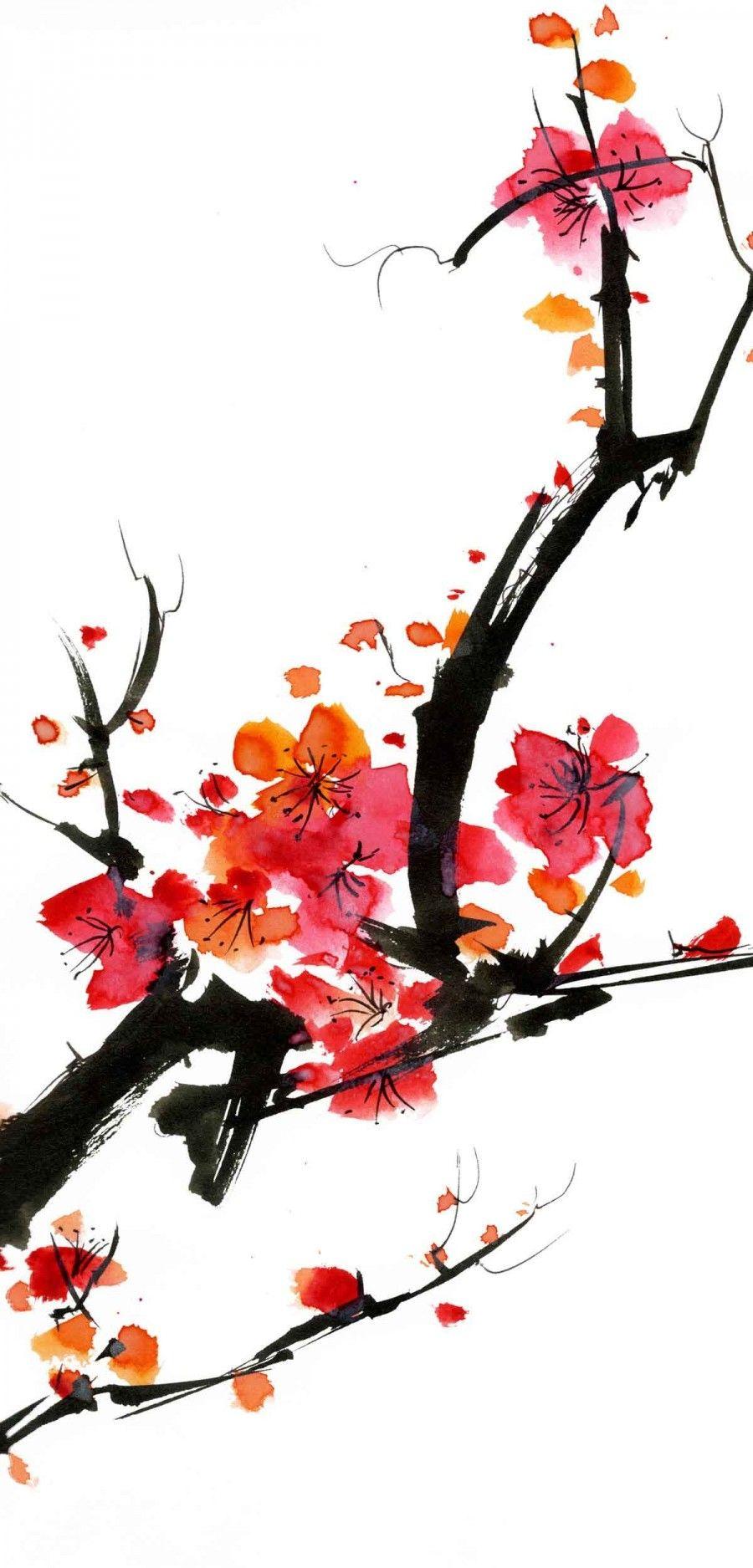 Hauteur Cerisier Du Japon papier peint japonais cerisier en fleur | e-papier-peint