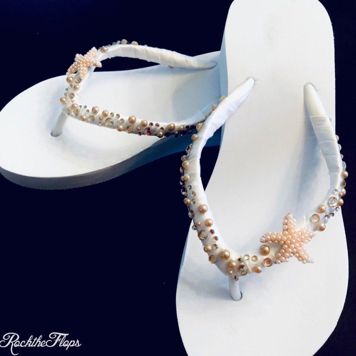 Destination Wedding Shoes Bridal Flip Flops Shoes Bridal Thongs Beach Wedding Sandal Bling Jewel Wedding Flip Flops Bridesmaid Shoes