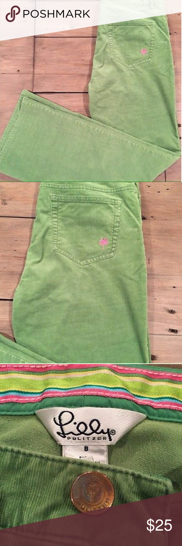 LILLY PULITZER GREEN CORDY PANTS Beautiful Lilly Pulitzer green corduroy Pants with pink palm logo embroidered on back pocket. Goes perfectly with her sweaters! These would be great preppy pants for spring outfits or to wear golfing! True Size 8. Lilly Pulitzer Pants