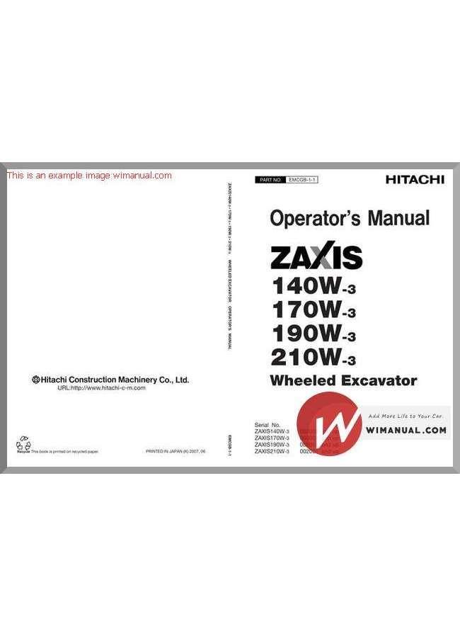 Hitachi Zaxis 140w 170w 190w 210w 3 Operators Manual