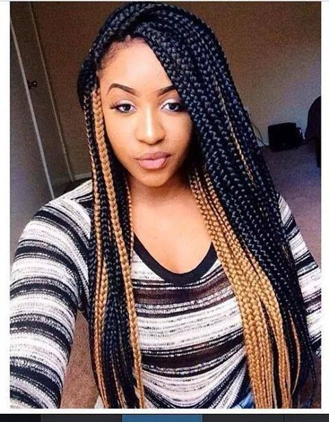 Mixed Color Box Braids Single