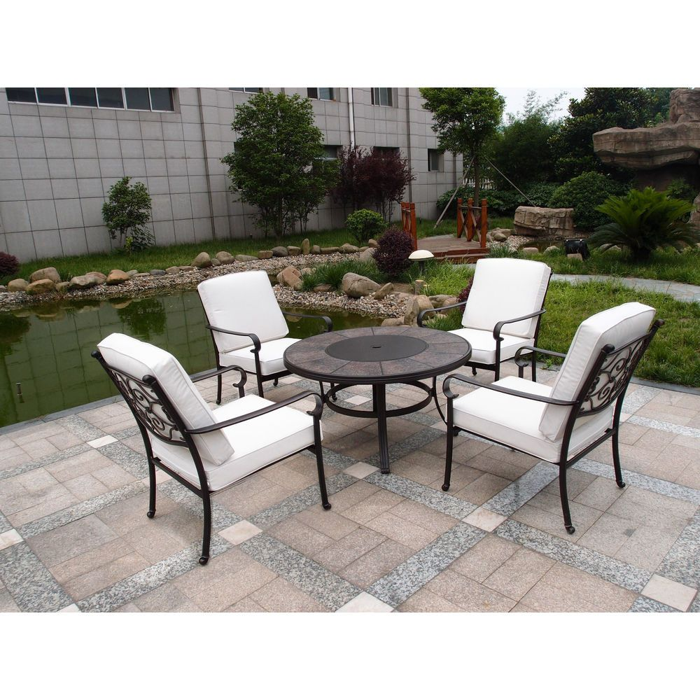 Oasis 4 Seater Garden Lounging Table And Chairs Set: Outdoor 4 Seater Dining Set With Cushions Garden Furniture