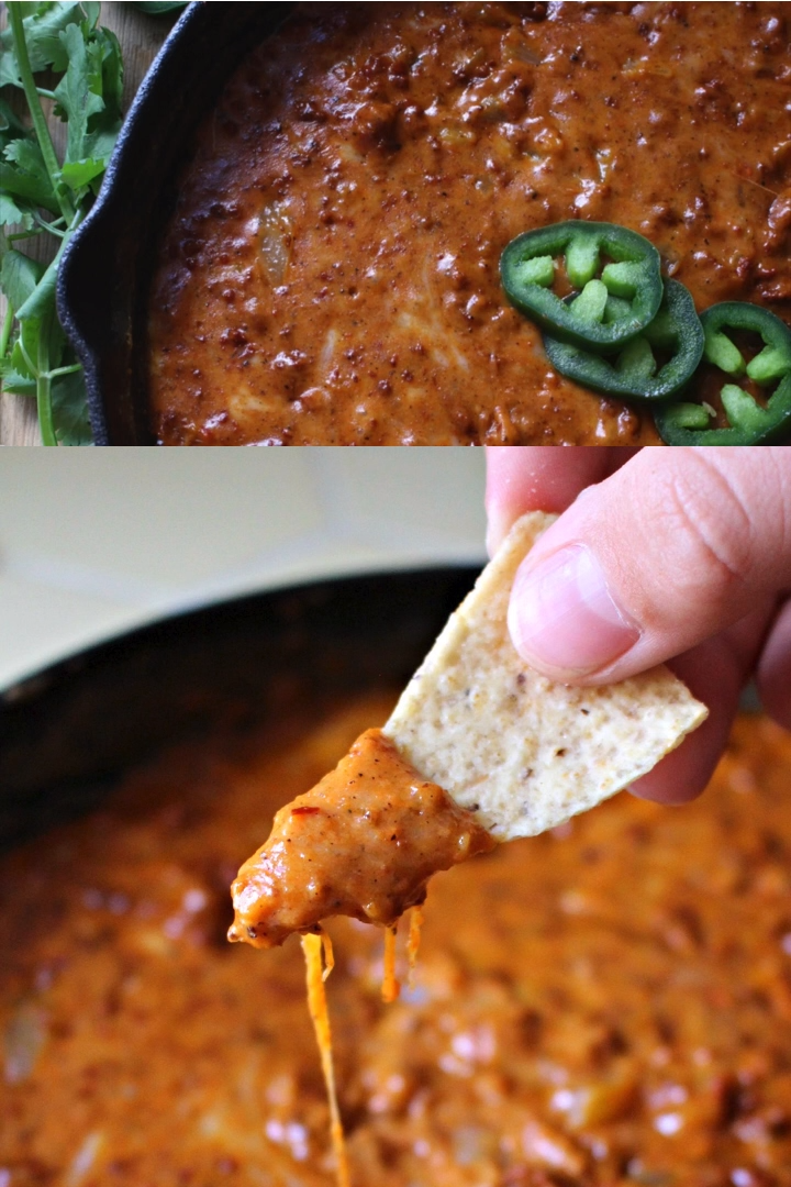Nothing WOWs a crowd like Chorizo Cheese Dip. Melted ooey cheese with Mexican chorizo. For game day or any special occasion, this party appetizer will be devoured in minutes. By Mama Maggie's Kitchen #mamamaggieskitchen