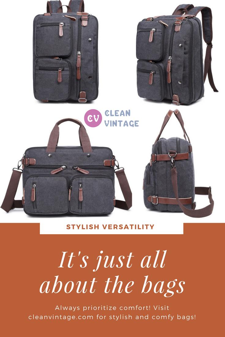 Clean Vintage Hybrid Laptop Backpack Messenger Bag Convertible Briefcase Backpack Bookbag Rucksack Satch Leather Briefcase Men Mens Leather Bag Messenger Bag
