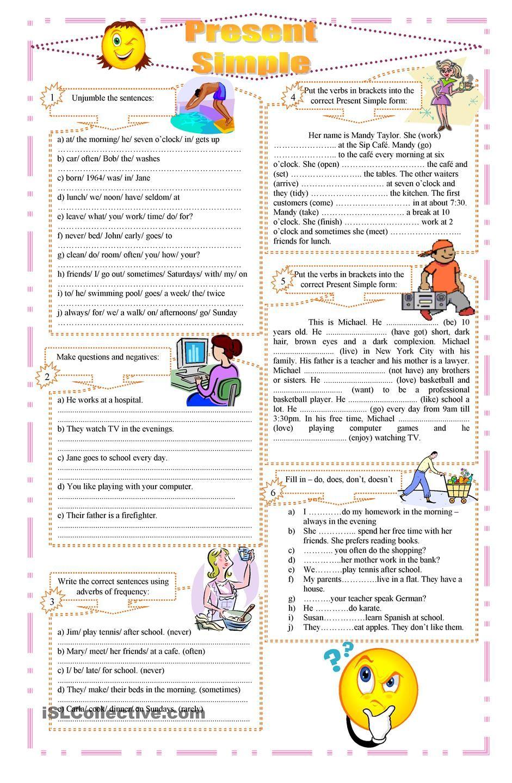 worksheet Esl Beginner Grammar Worksheets present simple exercises grammar pinterest english 2858 free esl tense worksheets