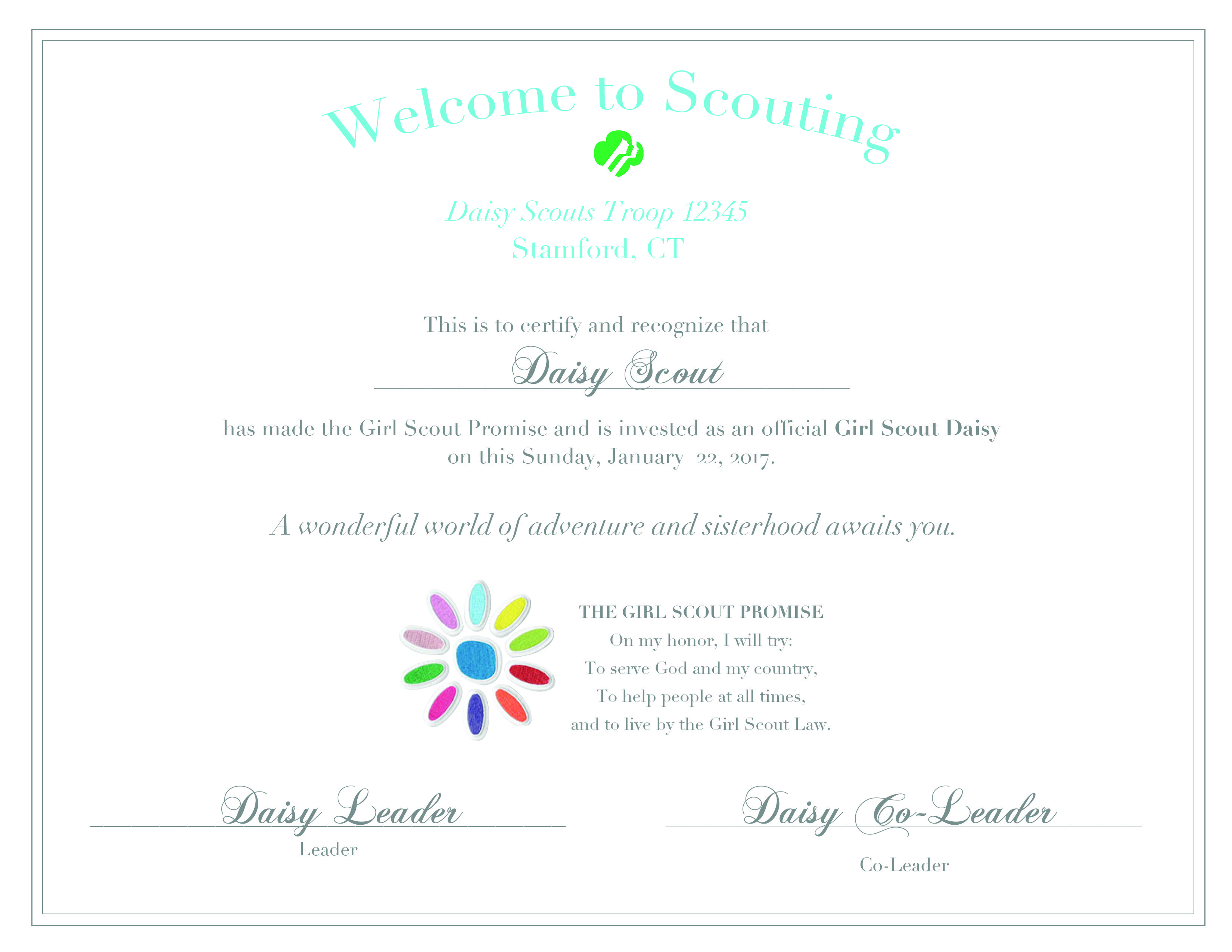 A personalizable Investiture Ceremony certificate for
