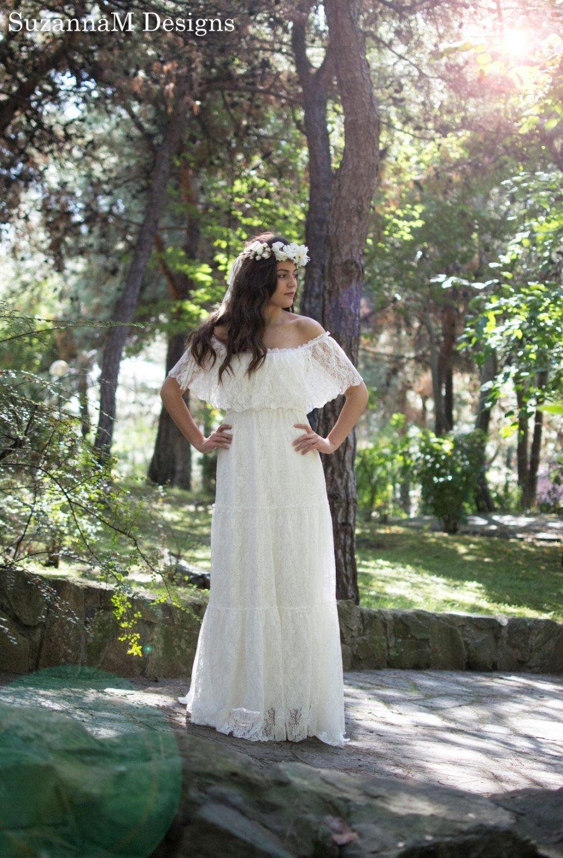 Off the shoulder bohemian wedding dress  Wedding Dress Lace Bridal Dress Lace Ivory Wedding Dress Lace