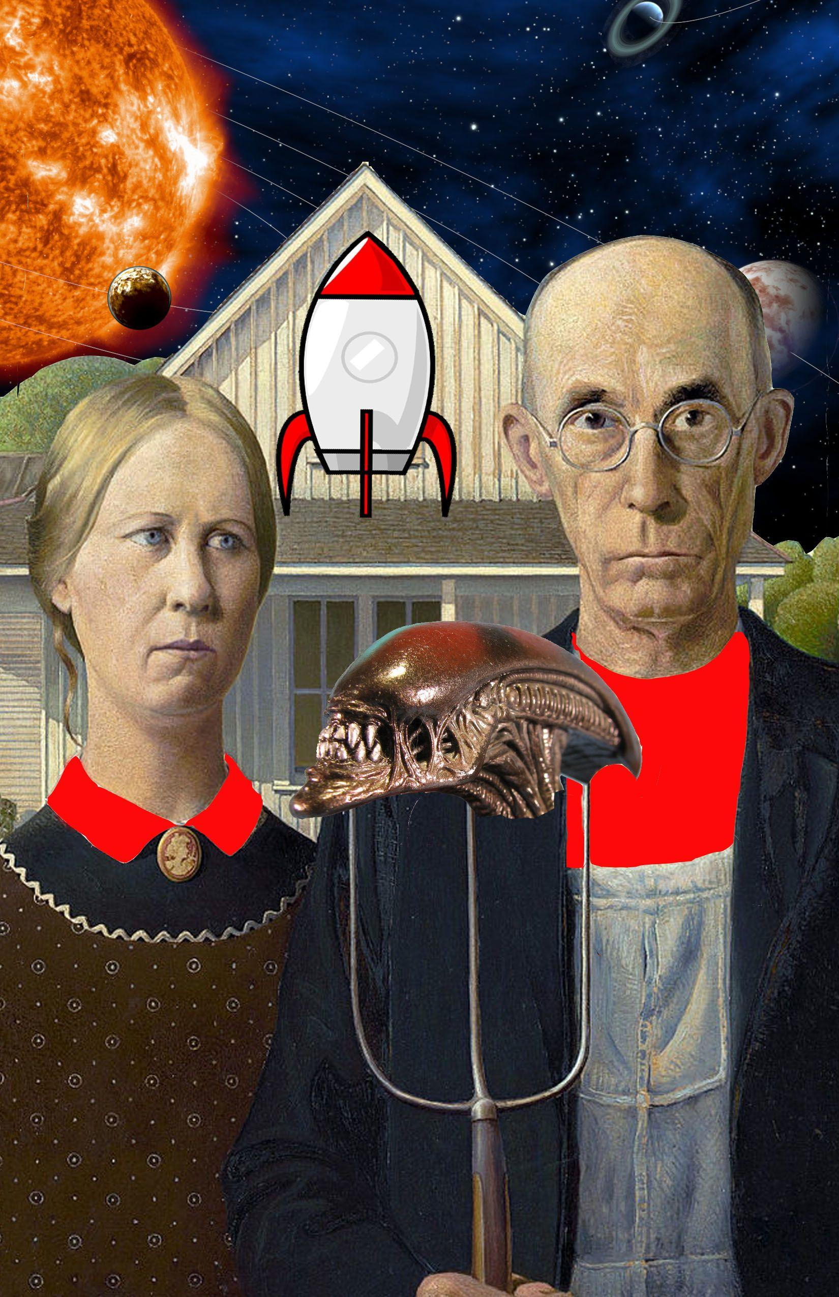 Alien gothic american gothic parody american gothic