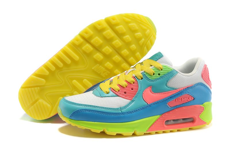 womens blue yellow and white air max 90