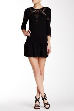 Stretch Knit Dress with Lace