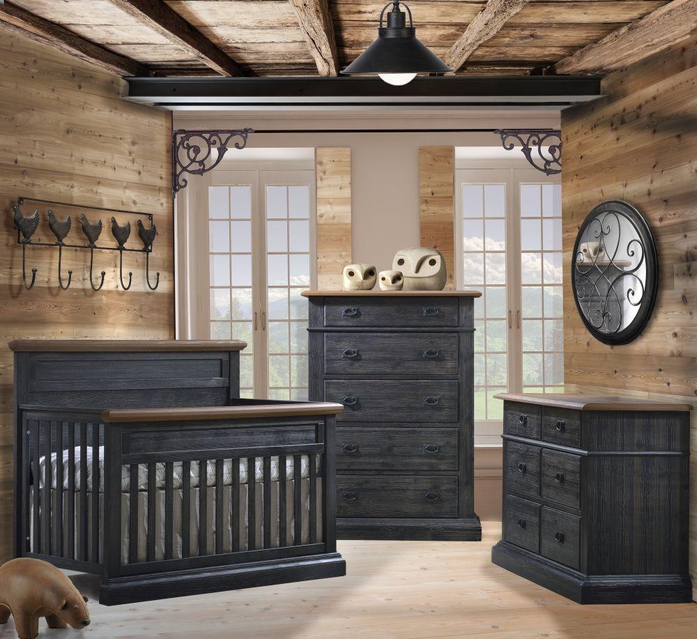Natart Cortina 3 Piece Nursery Set in Black Chalet and Cognac