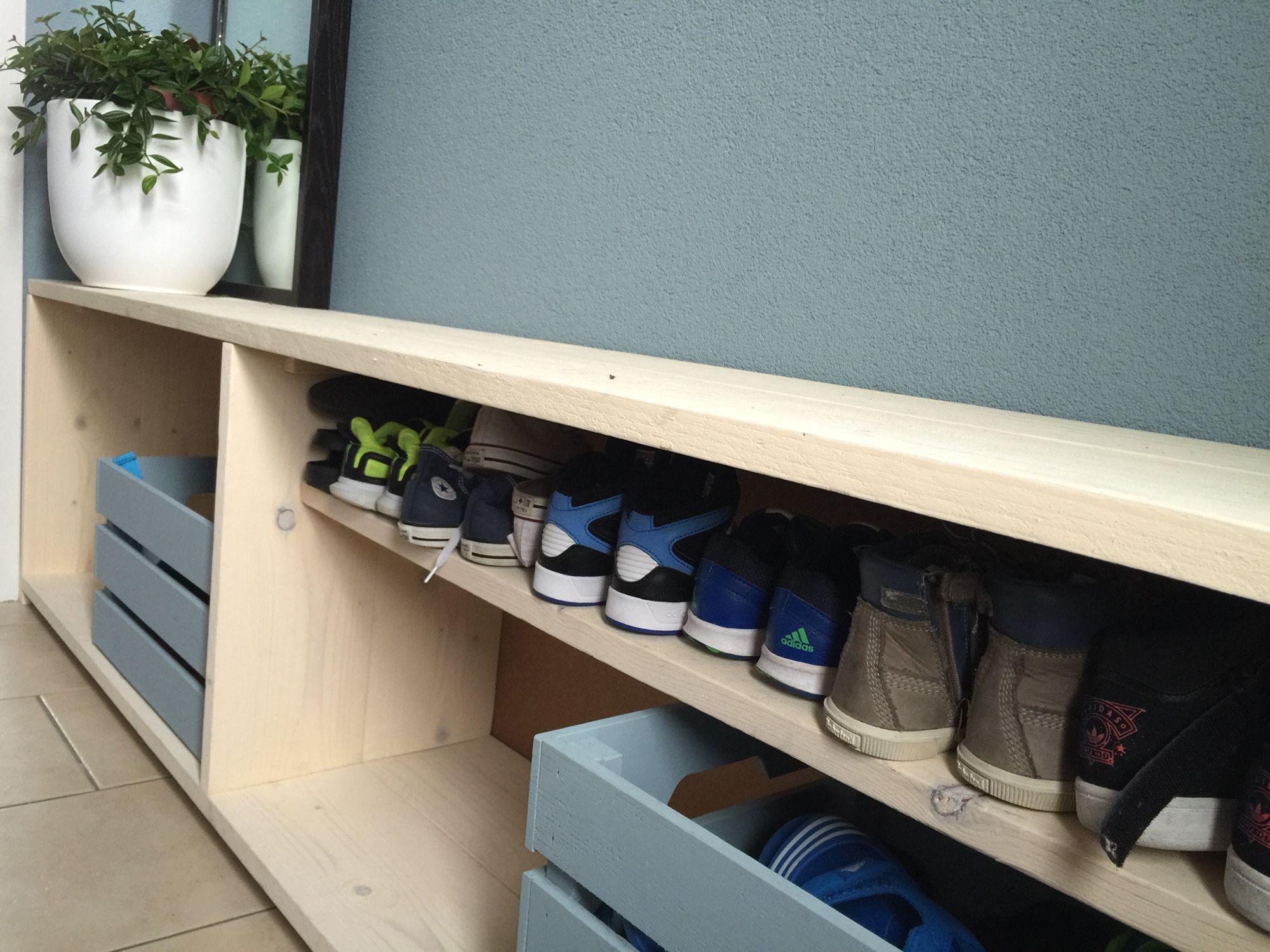 DIY schoenenkast Schoenen rek Pinterest