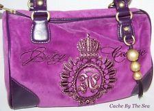 Juicy Couture Handbag Purple Velour Leather Glouster Crest Satchel Tote