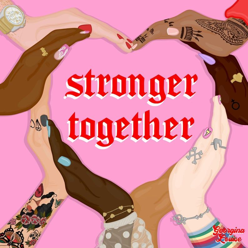 Stronger Together Diversity Art Print Illustration and Motivational Quote - Square 21cmx21cm A4