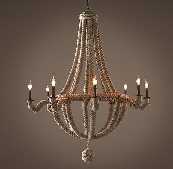 French Empire Rope Chandelier Perfect For Nautical Inspired Spaces