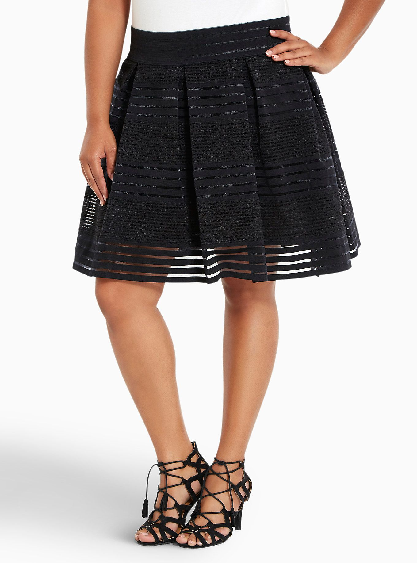 50ba5dad35b0 Striped Sheer Flared Skirt   FASHION... Turn to the left...   Flare ...