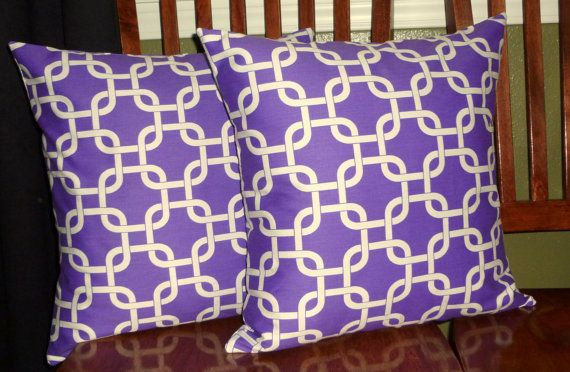 Decorative Pillow Covers in Candy Purple and White Two by berly731, $39.99