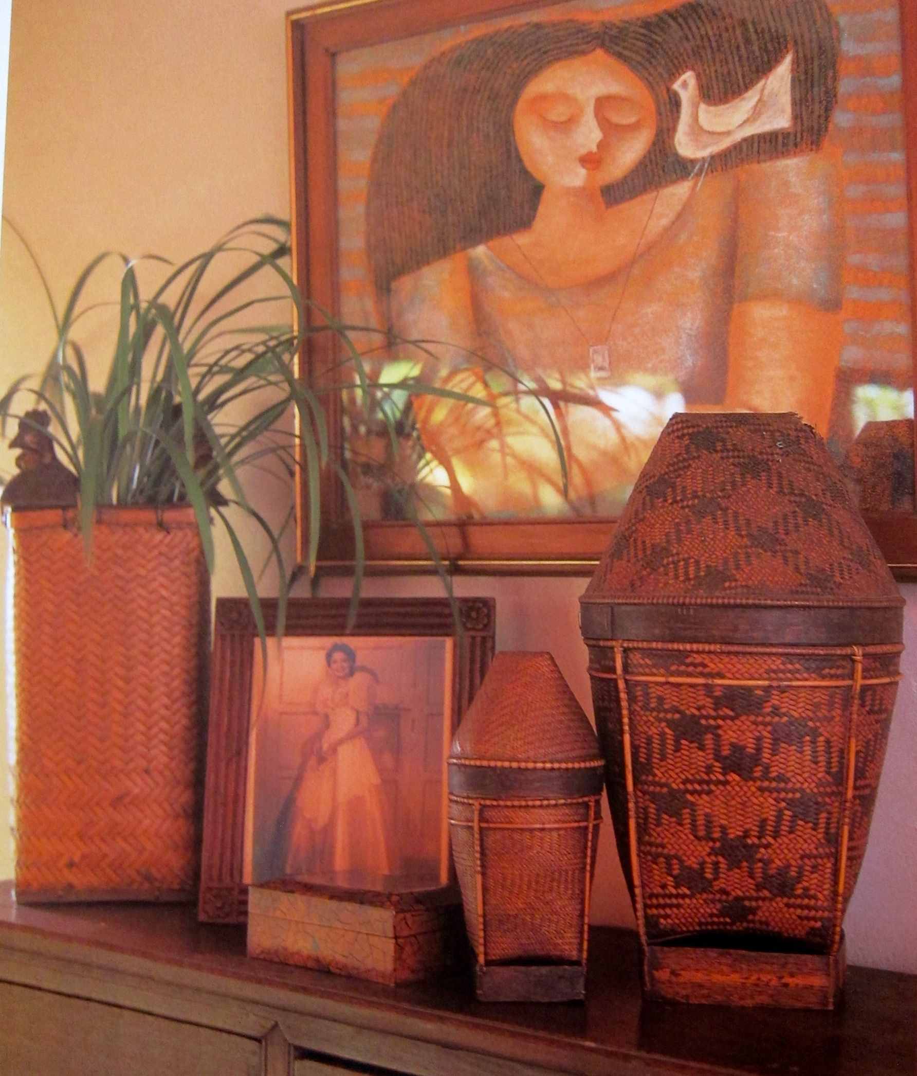 Filipino Home Styling. Ethnic Filipino Basketry And Contemporary Pinoy Art.