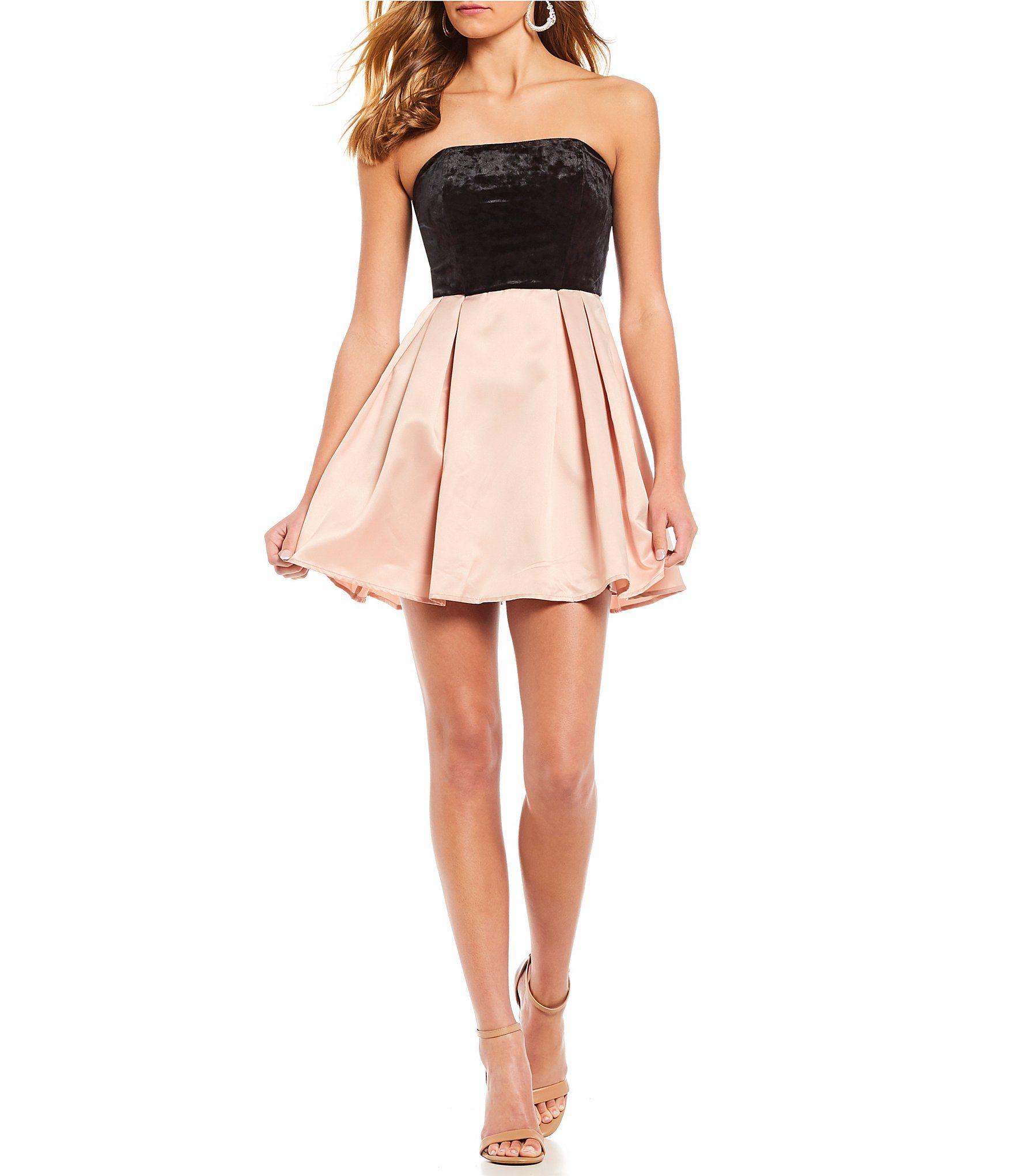 Xtraordinary strapless velvet bodice fit and flare dress dillards