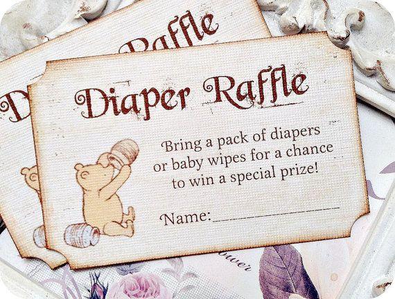 Vintage Inspired Classic Winnie the Pooh Diaper Raffle Ticket Set