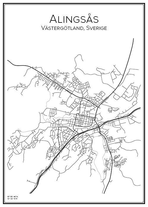 karta alingsås Alingsås | Prints karta alingsås