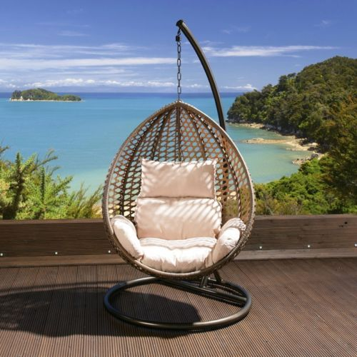 Luxury Garden Hanging Chair Brown Mix Rattan Cream Cushion