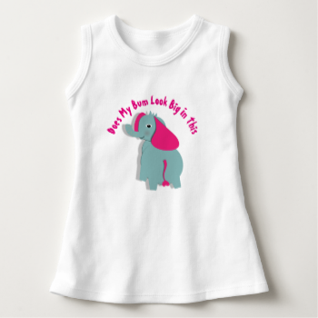 "Such a cute graphic with a whimsy elephant in blue and pink and a funny text message ""Does My Bum Look Big In This"". Feel to customize with a personal name at no extra cost. Adorable for baby's and toddlers and ideal if your looking for a new baby or toddlers birthday gift."