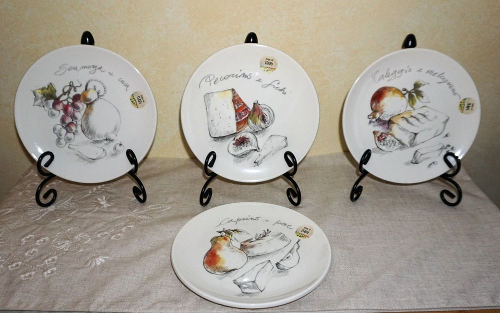"""NWT EFFETTI d'Arte MADE in ITALY Set of 4 8"""" LUNCH BREAD"""