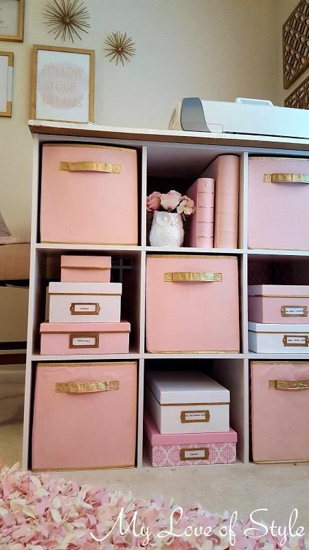 Pink And Gold Painted Fabric Storage Bins Organizing