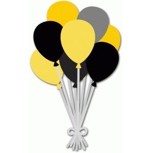 black & yellow balloons. silhouette