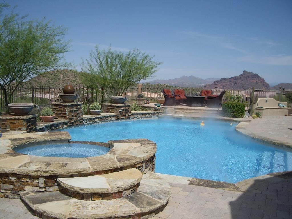 Incredible backyard pools swimming pool spa w views for Garden pool in arizona
