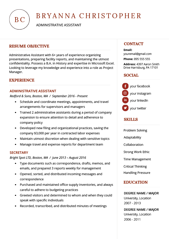 40 Modern Resume Templates Free To Download Resume Genius In 2020 Resume Templates Modern Resume Template Free Resume Template Free