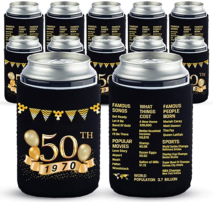 Yangmics 50th Birthday Can Cooler Sleeves Pack